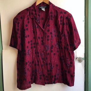 VINTAGE Burgundy Red Floral Polka Dot Button Down